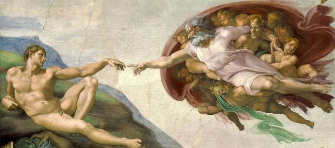 La Création d'Adam par Michel-Ange, 1511 Rome