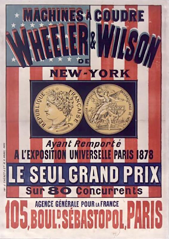 Affiche pour les Machines à coudre Wheeler & Wilson de New York, Jules Chéret, Paris – 1879 © bnf.fr